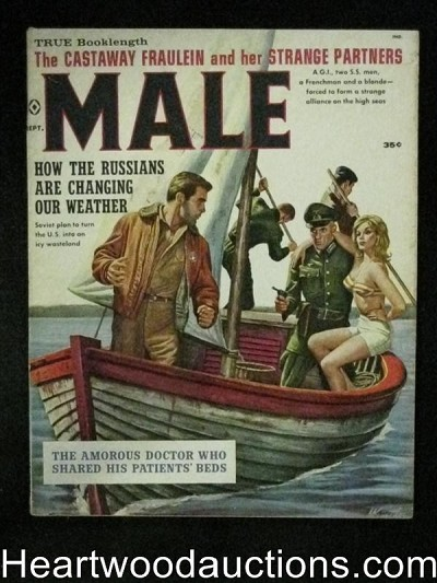 """Male"" September 1960 Kunstler cvr,  Bama art, Copeland"