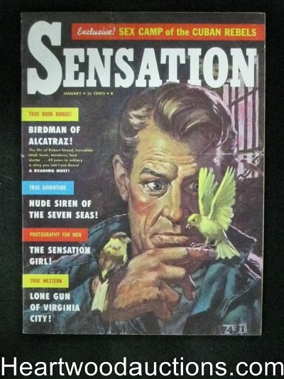 """Sensation"" January 1959  H.P. Lovecradt,Birdman of Alcatraz Cover"