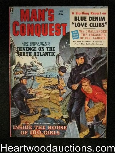 """Man's Conquest"" January 1960  Civil War Story,Shark attack,Wenzel"