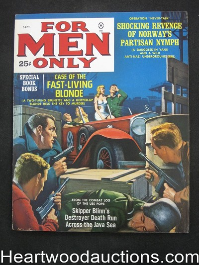 """For Men Only"" September 1962 Walter Popp, Minney, Pollen,Kunstler Cvr,  Carter Brown Story - Ultra High Grade- NAPA"