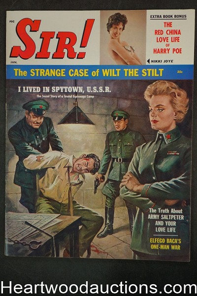 """Sir!"" January 1961 Male Torture Cvr, Nikki Joye - Ultra High Grade- NAPA"