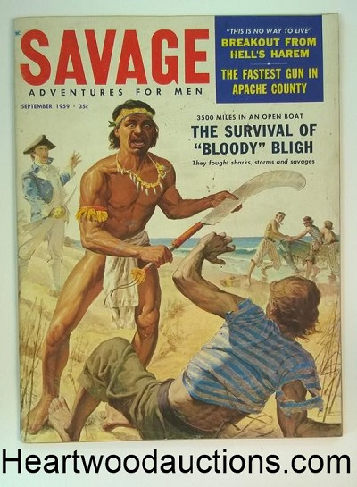 """Savage"" September 1959  Bob Powell Art, Molly Maguires, Muntiny on the Bounty"