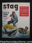 Stag Oct 1957 Wild Shark Attack Cover, James Bama - High Grade- NAPA