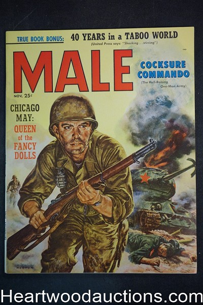 Male Nov 1957 Phil Ronfor Cvr, Kunstler, Rudy Nappi, The Cocksure Commando - Ultra High Grade- NAPA