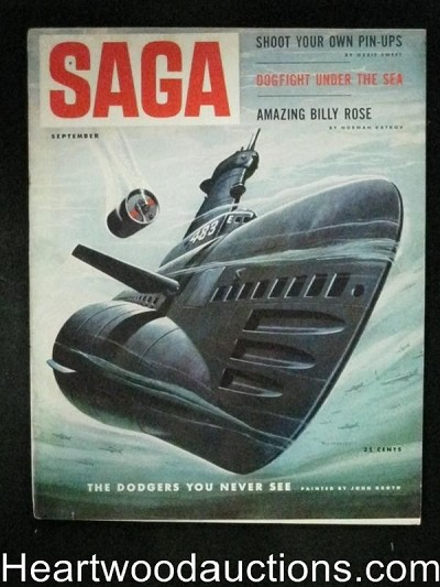 Saga Sep 1953 Valigursky Cover, Baseball, Coney Island