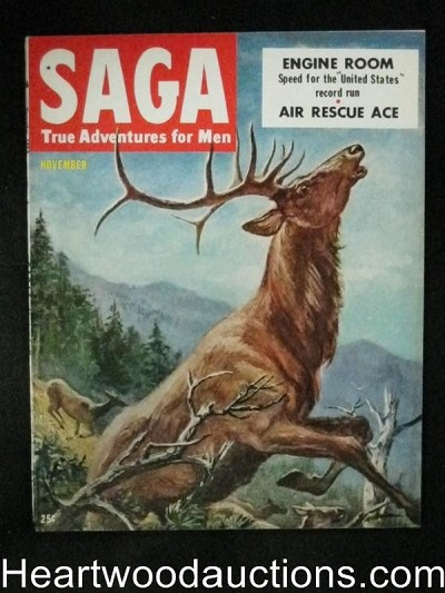 Saga Nov 1952 Harvey Kidder Cover, Car racing, Herb Mott