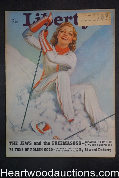 Liberty Feb 10, 1940 Victor Tchetchet GGA snow Skiing Cvr, Freemasons, Baseball