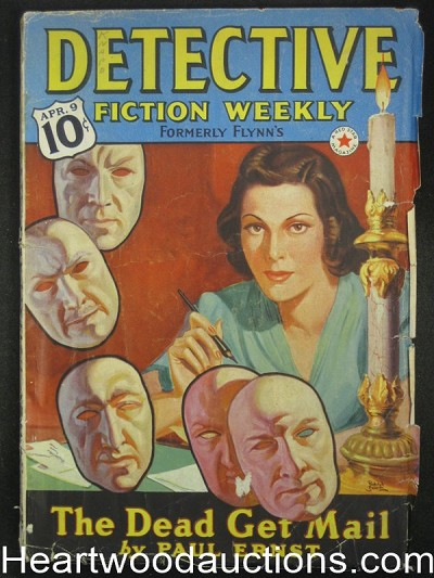 """Detective Fiction Weekly"" April 9 1938 Hugh Cave Bizarre Belarski Cvr"