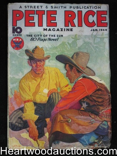 """Pete Rice"" January 1934 Baumhofer cover"