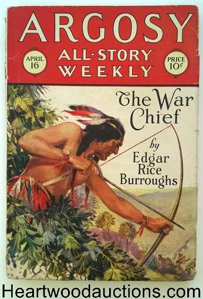 Argosy Apr 16 1927 Edgar Rice Burroughs - The War Chief Pt. 1/ Cvr