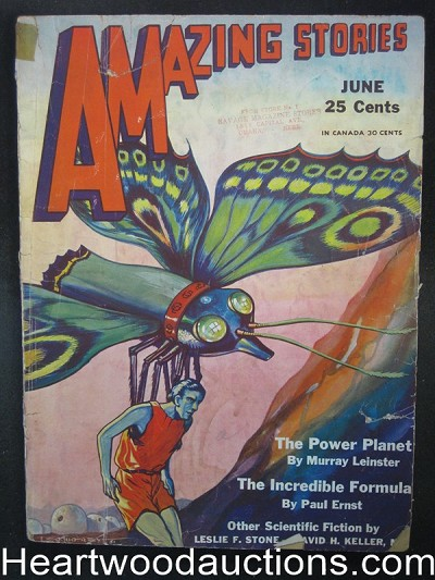 Amazing Stories Jun 1931 Great Butterfly Cover, Leinster, Ernst
