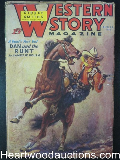 Western Story Aug 22 1936 Dan and the Runt , Hinton Cover