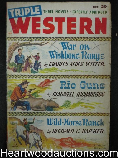 Triple Western Oct 1948  Charles Alden Seltzer, Dreary Cover