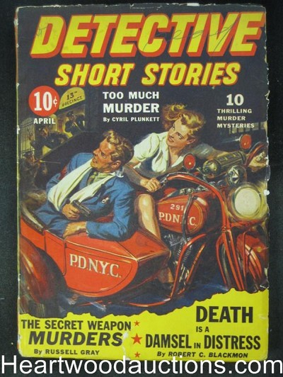 Detective Short Stories- Apr 1943- Classic Saunders Cvr, Fredric Brown