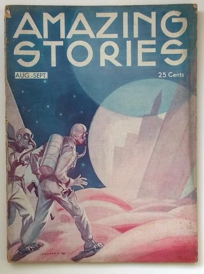 Amazing Stories Aug 1933 Leo Morey Spacemen Art deco Cvr, Fletcher Pratt