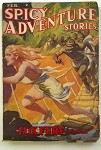 Spicy Adventure Feb 1939 H.J. Ward GGA cover Blonde flees African savages