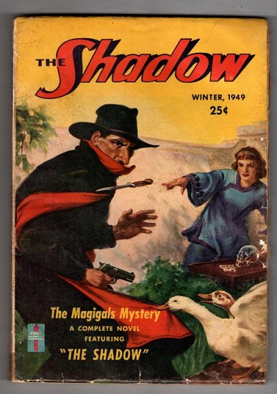 The Shadow 1949 Winter Scarce issue; Rozen Cvr: female attacks shadow with knives