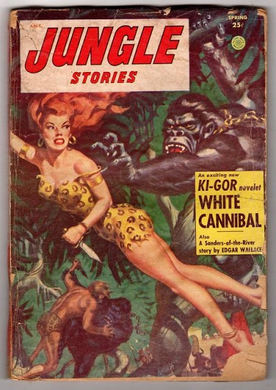 Jungle Stories  Spring 1954 Allen Anderson Sheena Cover, Final Issue Edgar Wallace