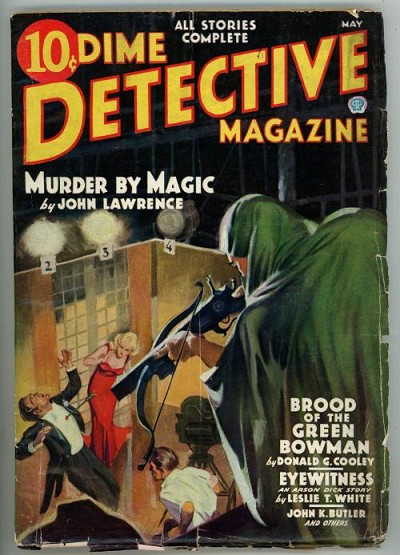 Dime Detective Magazine May 1936  Baumhofer Green Arrow , Green Bowman Cvr