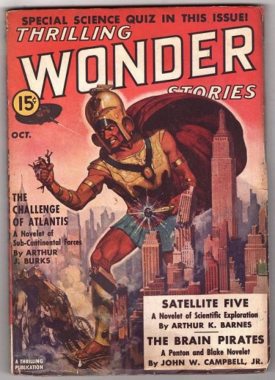 Thrilling Wonder Oct 1938 Ray Cummings; Manly Wade Wellman; John Campbell