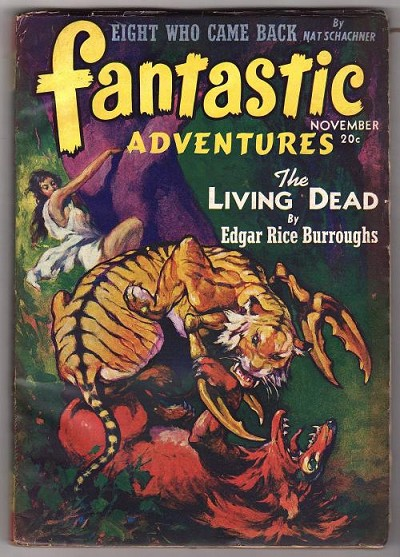 Fantastic Adventures Nov 1941 Edgar Rice Burroughs Cover by J. Allen St John