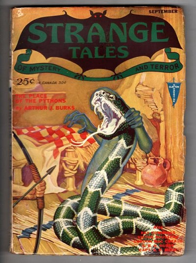 Strange Tales Sep 1931 FIRST Issue; Cool Spectre/Viper Cvr by Wesso; Cummings
