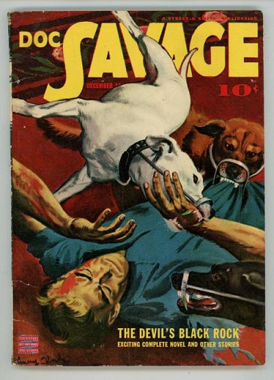 "Doc Savage Dec 1942 ""The Devil's Black Rock"" Dog Attack Cvr"