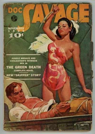 Doc Savage Nov 1938 Male Bondage / GG Cover ;