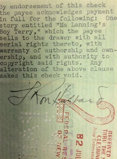 1936 Check from The Frank A. Munsey Company to  L. Ron Hubbard for Ma Lanning's Boy Terry and Serial Rights, Signed on Reverse