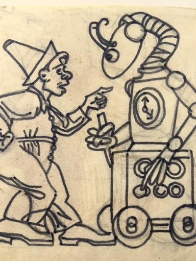 "Hannes Bok Original Art  - 3-1/2"" x 3-1/2"" Charming line illustration with cartoon robot and male figure"