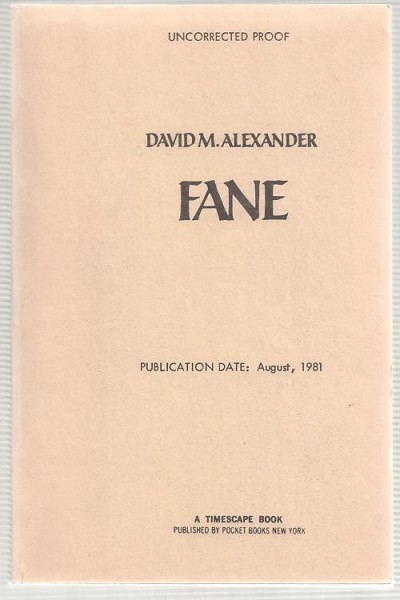 Fane by David M. Alexander (First Edition)