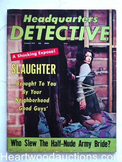"""Headquarters Detective"" January 1974 Bondage Cover"