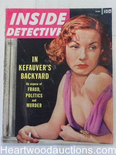 """Inside Detective"" June 1952 Woman Smoking Cover"