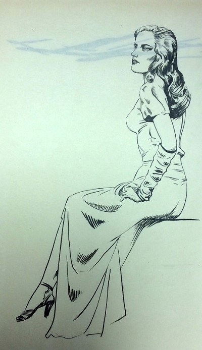 "Original Art by Roy G. Krenkel ""Sexy Woman"" ca 1950s"