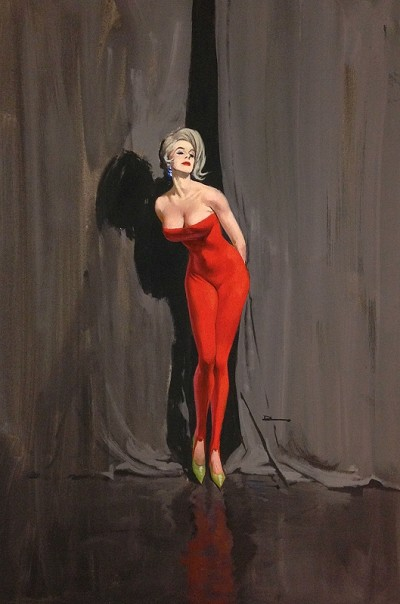 "Limited Edition Print NYC Pulp Artist Ernest Chiriacka 'Lady in Red' 24"" x 18"""