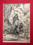 Roy G. Krenkel Original Art for Edgar Rice Burrough's Pellucidar - An initialed pencil drawing 1960s