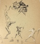 Roy G. Krenkel Original Art  - Page of Studies, exceptional, varied collection of white conte, pencil and ink- Tarzan, Warrior and scenes  9-1/2 x 10-1/2