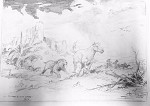 Roy G. Krenkel Original Art  -  The Chase - 'Smilodon and Wild Horses, No. 2' - action scene in pastoral setting, pencil - 11