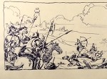 Roy G. Krenkel Original Art  -  Sowers of the Thunder Battle Scene (not published) A detailed, powerful vignette in black ink