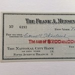 "1937 Signed, cashed check from Frank A. Munsey Company to Cornell Woolrich for ""Black Cargo"""