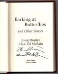 Barking at Butterflies by Evan Hunter (First Edition) Signed