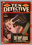 Ten Detective Aces Aug 1946 Endris Cvr: booby-trapped .45 shoots at Blonde
