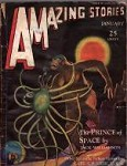 Amazing Stories Jan 1931 Jack Williamson Ape v. Space Insect cover by Leo Morey