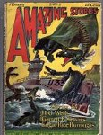 Amazing Stories Feb 1927 Frank Paul Cvr Battle Ship v. Dragons; HG Wells; ERB